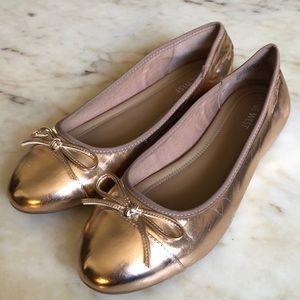 NINE WEST Rose Gold Metallic Ballet Flats